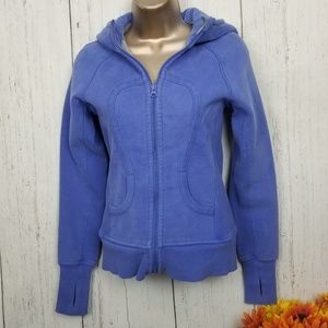 Lululemon blue zip up sweater with hood size 2